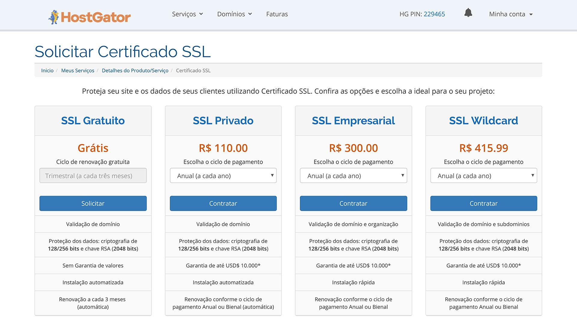 hostgator certificados ssl