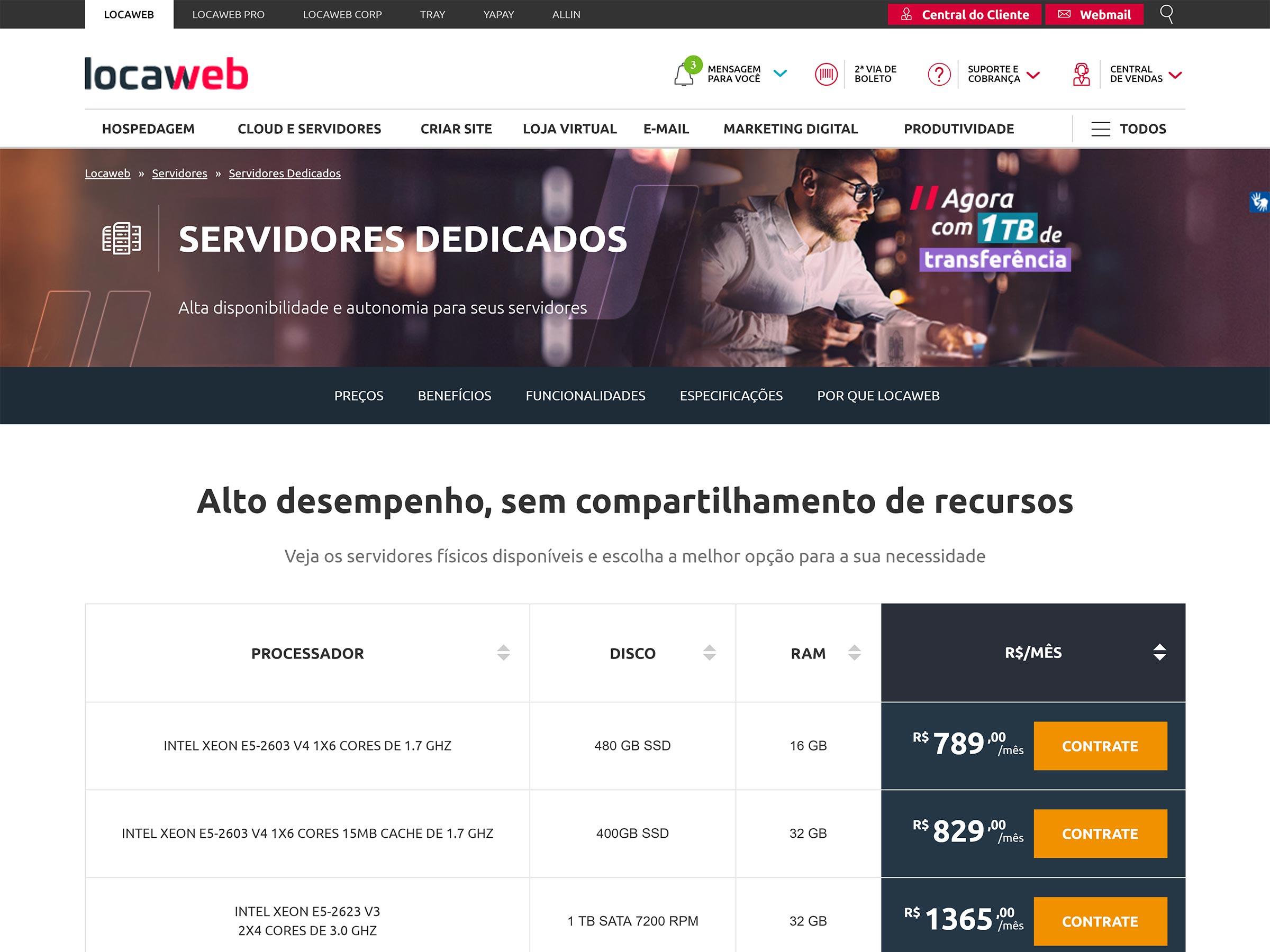 servidor dedicado locaweb