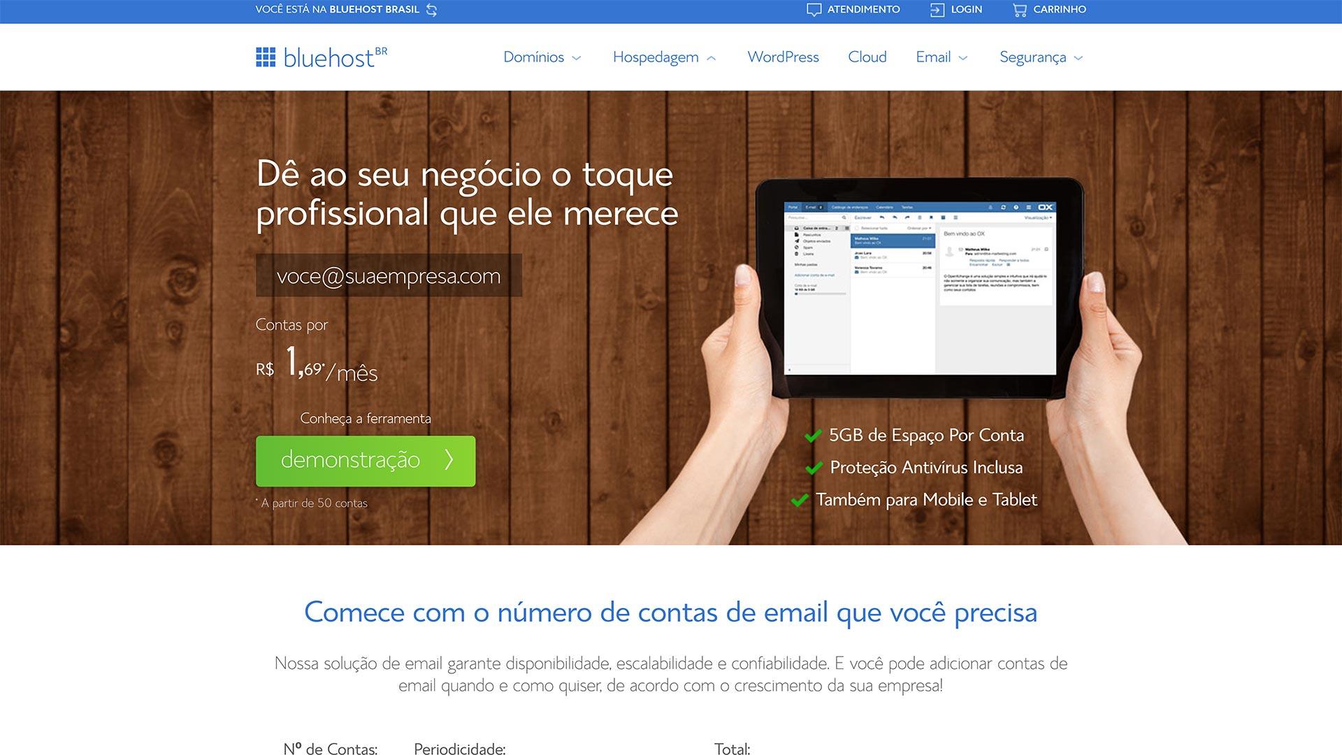 bluehost e mail profissional