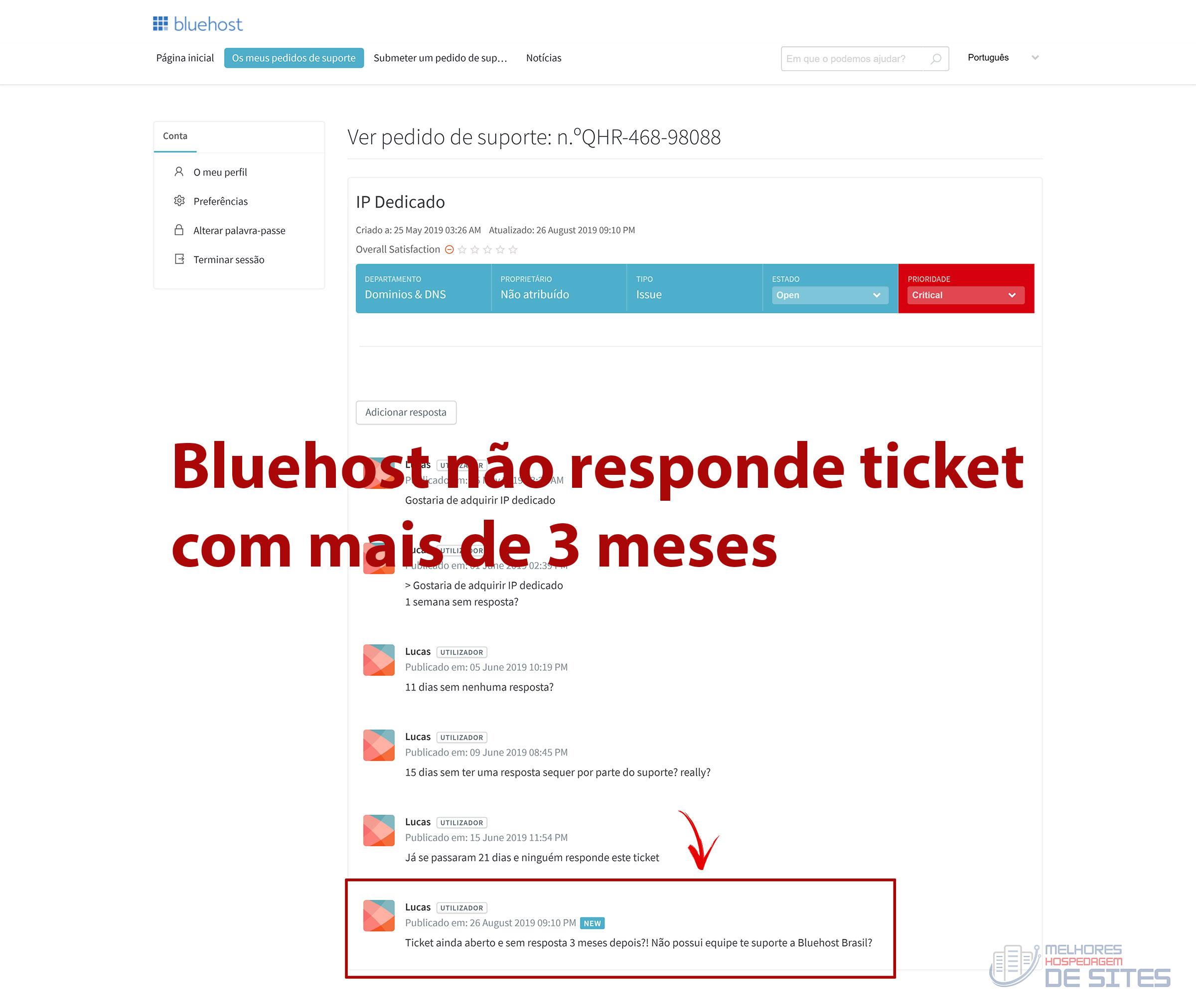 Bluehost não responde tickets de suporte dos clientes