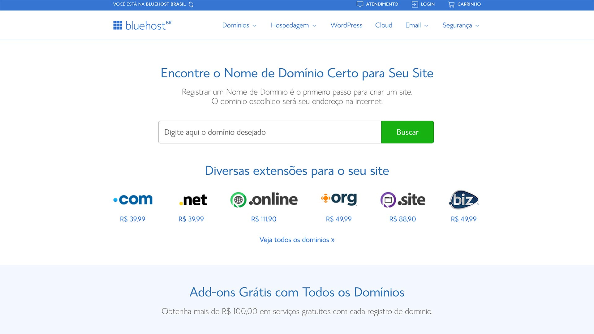 bluehost registro de dominio