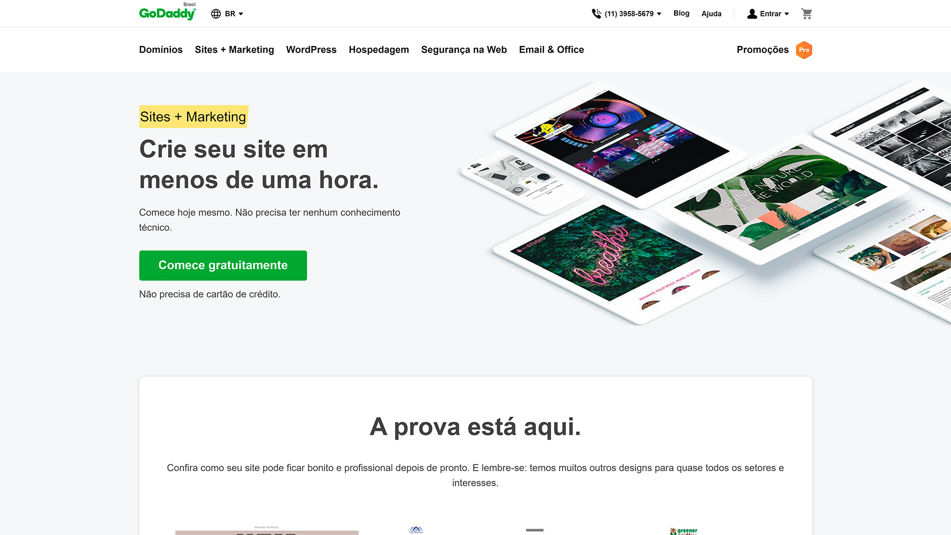 review godaddy criador de sites