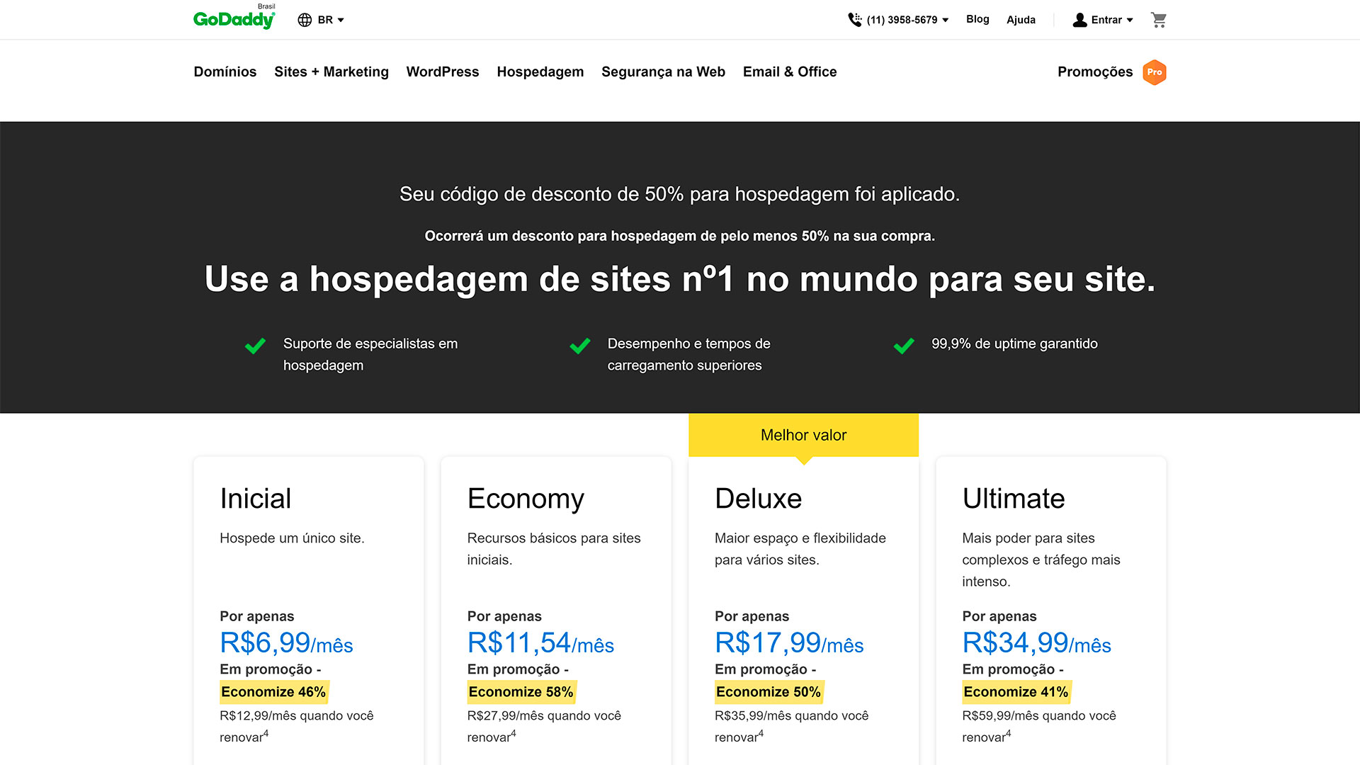 review godaddy hospedagem de site