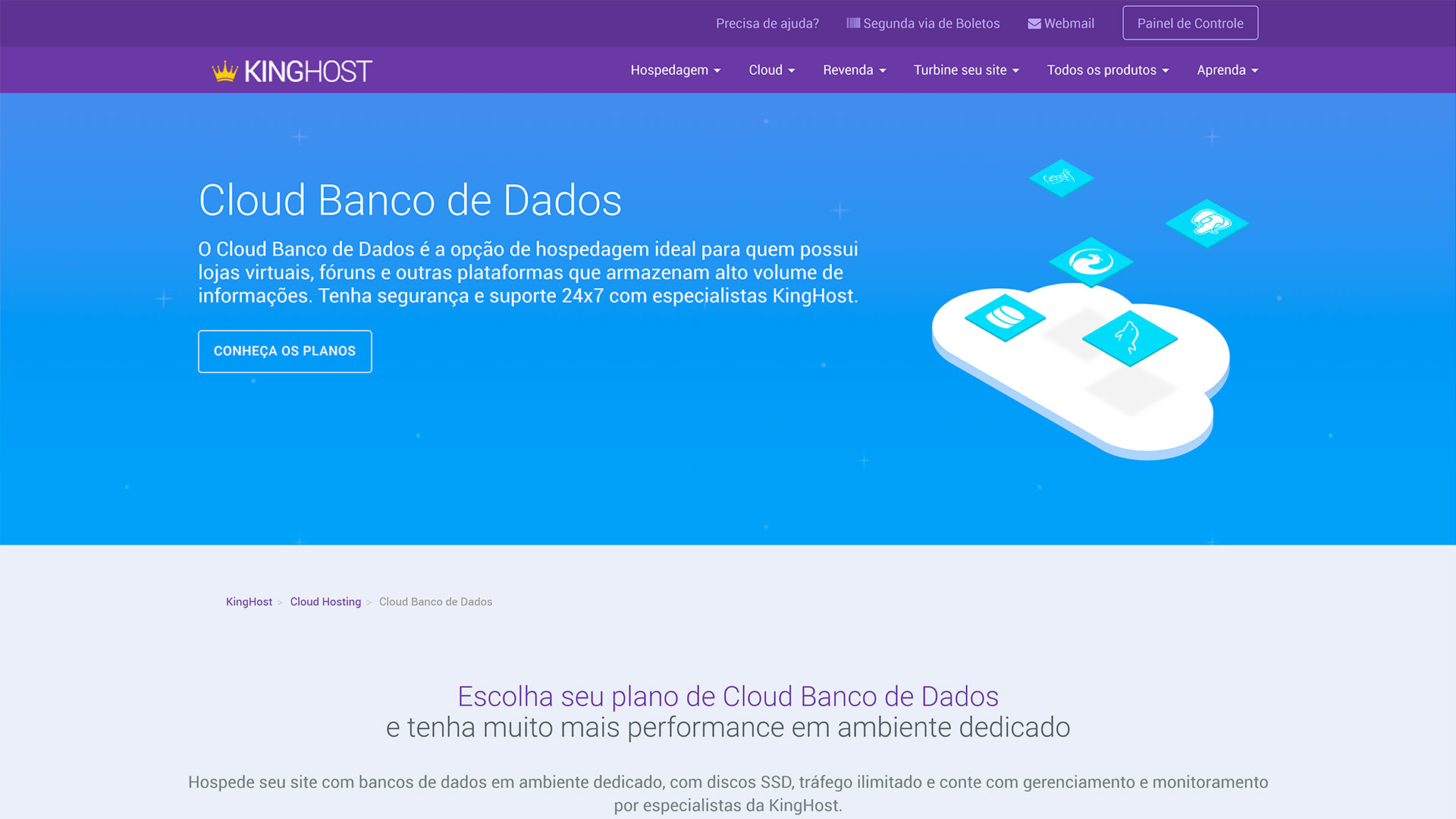 review kinghost cloud banco de dados