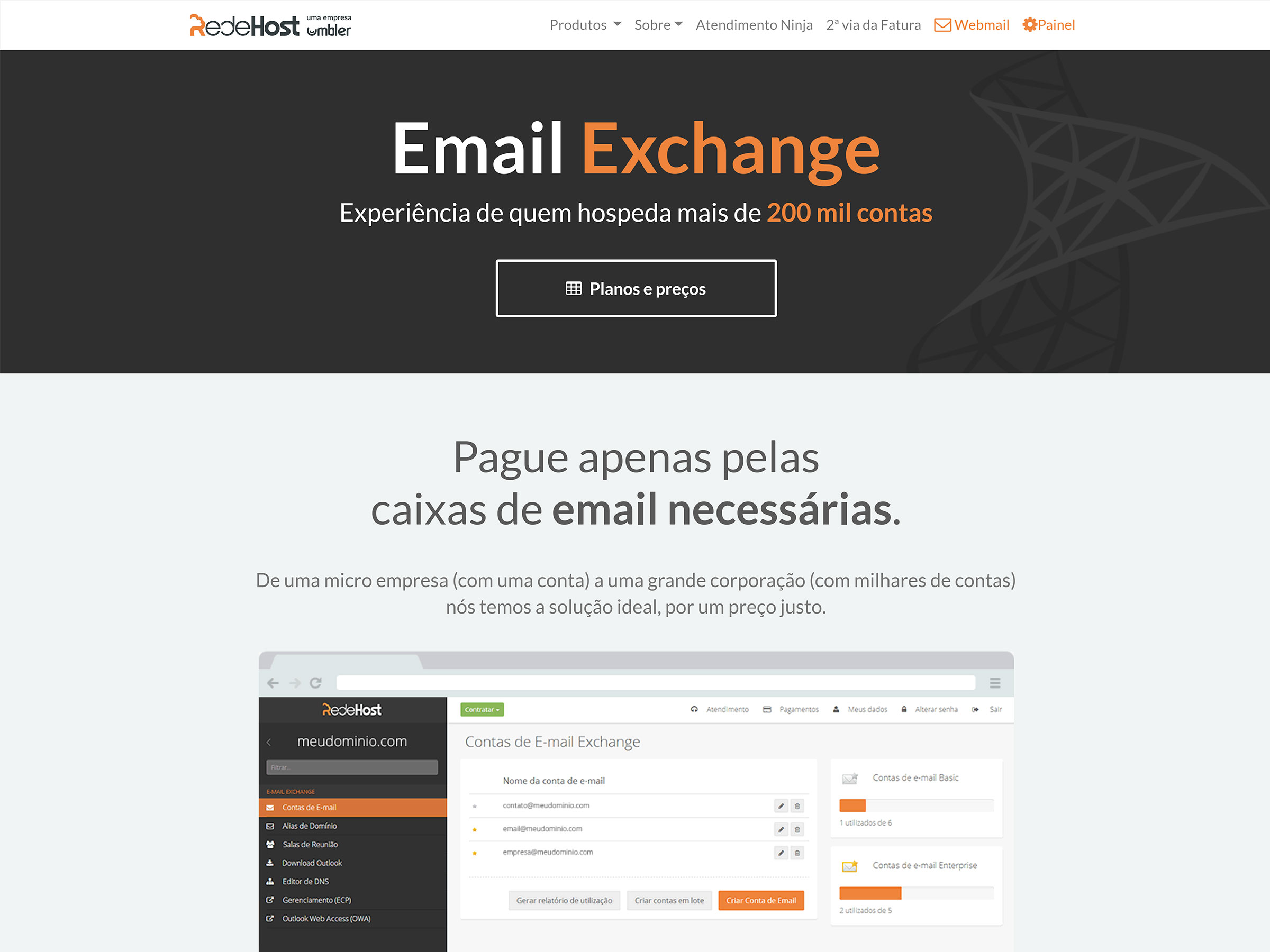redehost email exchange