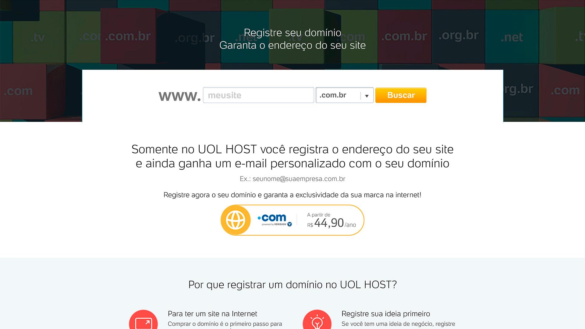 uol host registro de dominio