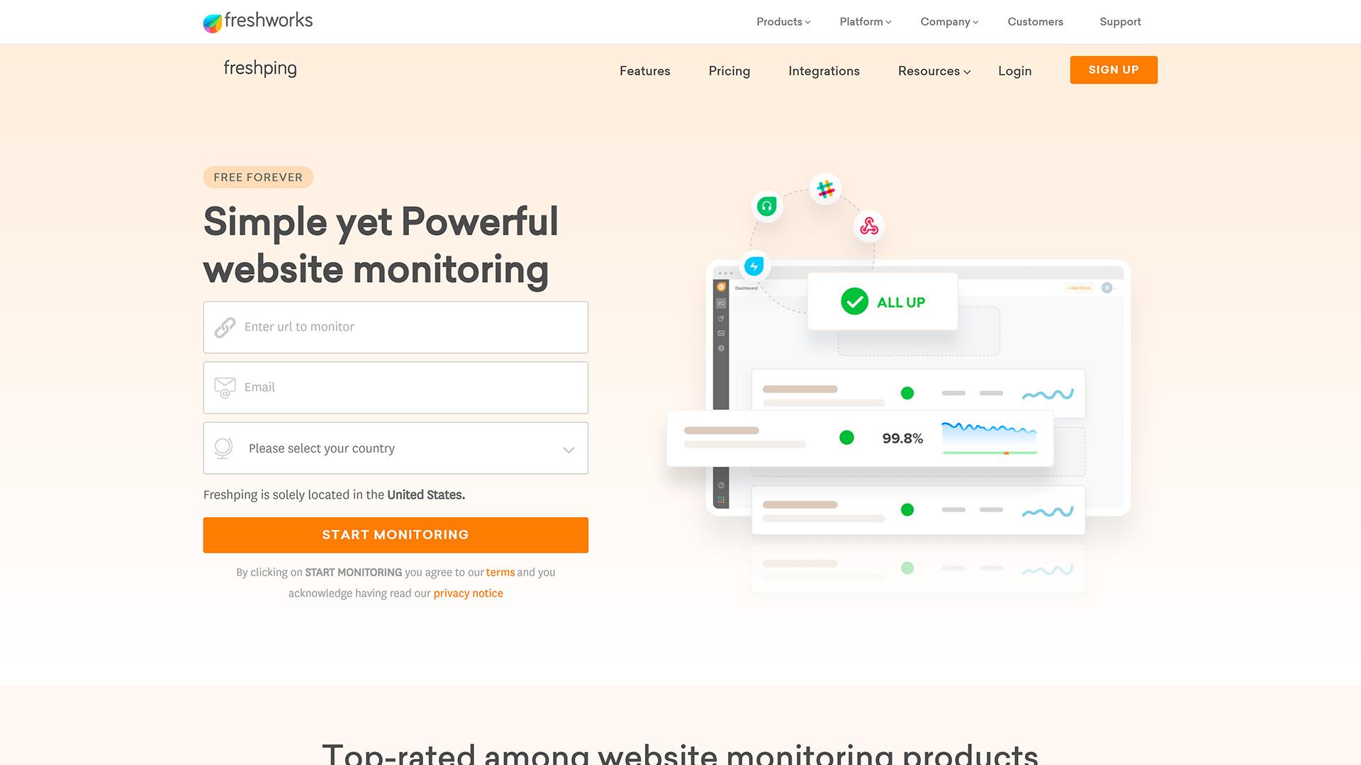 Monitoramento de Uptime Freshping
