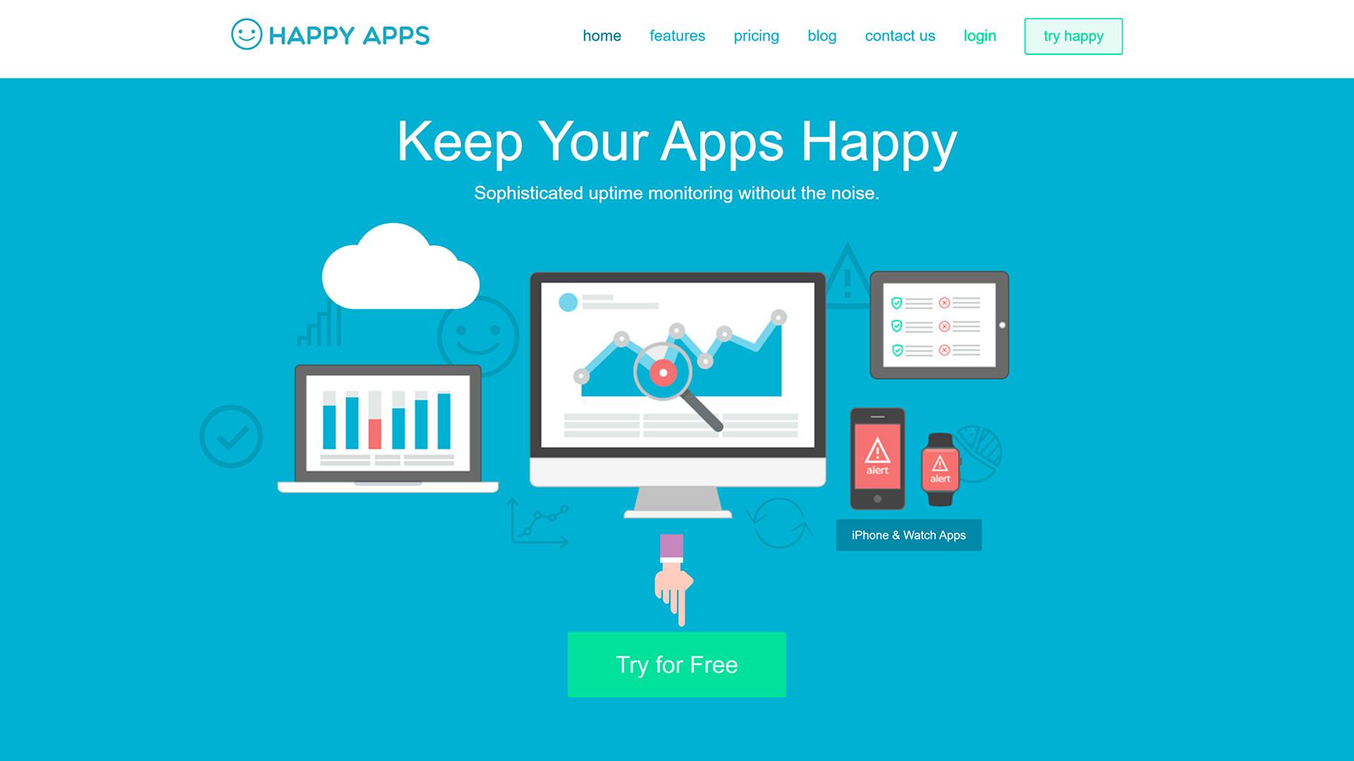 Monitoramento de Uptime Happy Apps Monitor